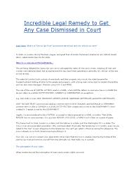 incredible legal remedy to get any case dismissed in court trust