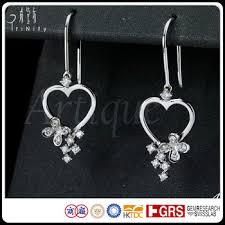 danglers earrings design diamond heart shaped dangler drop earrings solid gold simple