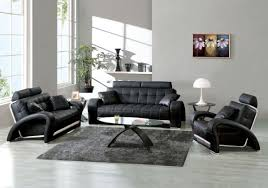 best living room design ideas with modern black leather sofa and