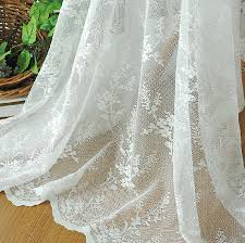 Lace Curtain White Floral Patterned Yarn Lace Curtains