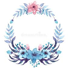 wreath with watercolor light blue and pink flowers stock