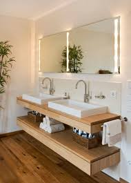 Wood Floors In Bathroom by Bathroom Design Idea An Open Shelf Below The Countertop 17