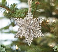 glitter snowflake ornament pottery barn