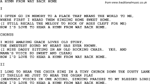 A Place Hymn Southern And Bluegrass Gospel Song A Hymn From Way Back Home Lyrics