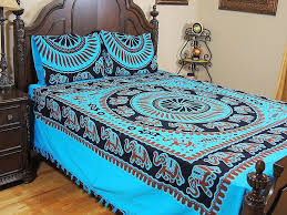 blue cotton bedding set elephant mandala print indian bed linens