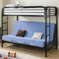 black metal full over queen bunk bed with blue sofa under it jpg