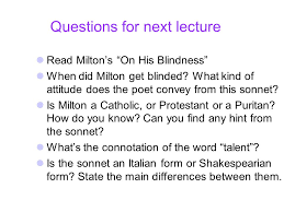 On His Blindness John Milton Meaning Metaphysical Poetry John Donne Ppt Video Online Download