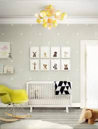 Modern Nursery Wall Decor Furniture Colorful Room With Yellow Mid Century Sofa Near
