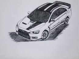 mitsubishi lancer drawing mitsubishi lancer evolution x drawing pen sketch youtube