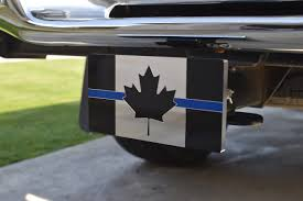 Hitch Flag Thin Blue Line Canadian Flag Aluminum Trailer Hitch Cover Peace
