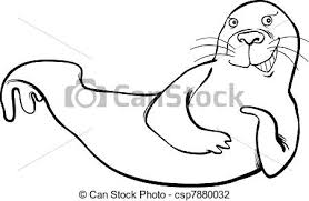seal coloring page vector illustration of funny seal coloring page cartoon