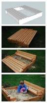 amazing sandbox with bench and sandbox with cover plans