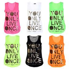 Gold Vest Womens Ladies Yolo Gold Foil Printed Top Womens You Only Live Once Vest