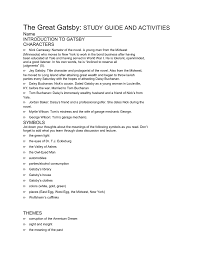 gatsby s house description the great gatsby study guide and activities name