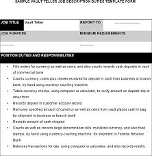 Resume For Teller Teller Job Description Sample Of Customer Service Job Description