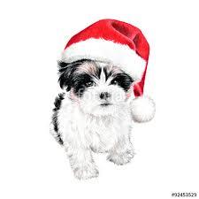 hand drawn puppy dog with santa claus hat cute fun christmas card