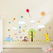 online get cheap giraffe bedroom aliexpress com alibaba group 110 155cm cartoon monkey giraffe tree butterfly 3d wall stiickers for kids room nursery bedroom