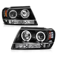 black jeep grand cherokee jeep grand cherokee 99 04 ccfl led projector headlights black