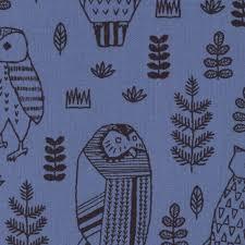 Owl Fabric Large Decorative Owls Blue Canvas Kokka Japan