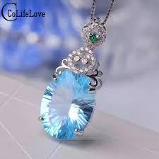natural topaz necklace images Luxurious huge gemstone pendant 12 16mm 11ct 100 natural sky blue jpg