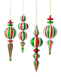 assorted peppermint finial ornaments treetopia