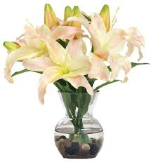 Bouquet Of Lilies Casablanca Lily In Glass Vase With River Rocks Traditional
