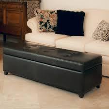 ottomans excellent black leather tufted ottoman storage bench