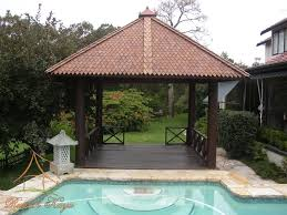 mini wooden gazebo with roof for backyard with square pool design