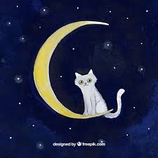 watercolor background cat on the moon vector free
