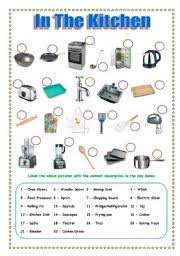 kitchen furniture names intermediate esl worksheets in the kitchen
