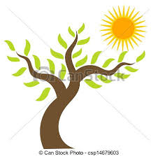 sun and tree tree and sun vector illustration vector