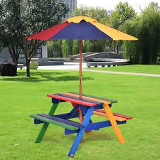 childrens bench and table set kids children garden picnic table bench w umbrella wooden rainbow