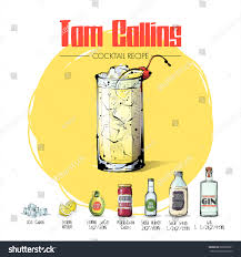 cocktail recipes poster hand drawn illustration cocktail recipe vector stock vector