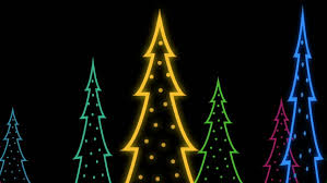 animated shiny lights on green christmas tree with snow particles