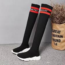 s boots flat 2017 fashion brand slim fit black sock boots flat knee boots