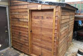 Free Wooden Shed Plans by Finished Pallet Shed From Free Materials 6 Youtube