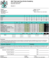 ash tree learning center academy report card template school