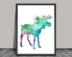 colorful moose 2 watercolor print watercolor painting