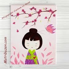 tableau deco chambre fille tableau enfant kokeshi aiko et papillon décoration chambre