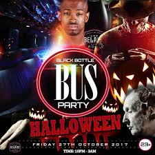 black bottle fancy dress halloween bus party tickets outside