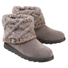 sweater boots s muk luks ankle boots with sweater knit cuff light gray