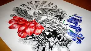 skeleton angel half sleeve tattoo design speed drawing youtube