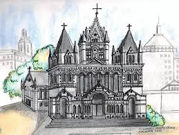 trinity church boston drawing by paul meinerth