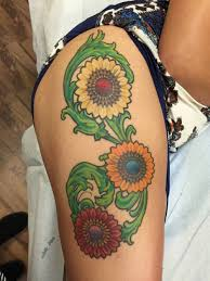 shannon neo traditional colorful flowers thigh