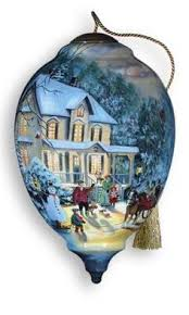 ne qwa through the snow ornament featuring artwork by peggy