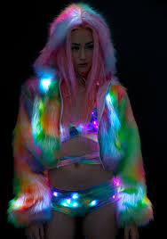 j valentine rainbow flashing lights cropped jacket dolls kill