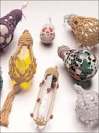 crochet around light bulbs makes ornaments pears for