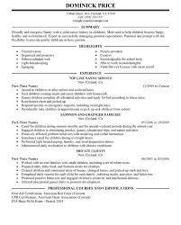 chic inspiration nanny resume examples 10 unforgettable part time