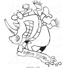 vector of a cartoon snowboarding rhino outlined coloring page by