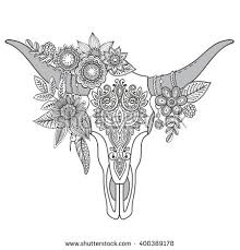 decorative indian bull skull tattoo tribal stock vector 303393062